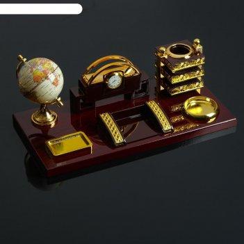 Набор настольный 6в1 (блок д/бумаг, подст. д/печати, карандашница, часы, в