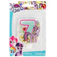 Свеча для торта цифра my little pony голубая 7