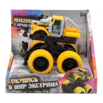Машинка с краш-эффектом funky toys 4х4,пул бэк, цвет жёлтый