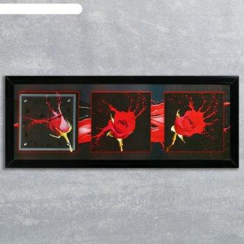 Часы-картина настенные, серия: цветы, три розы, 35х100  см, микс