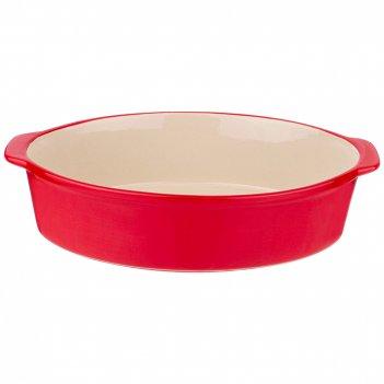 Блюдо для запекания и выпечки овальное 32,5*22*8 см красное без декора