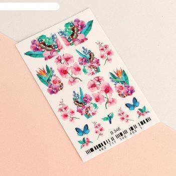 Слайдер-дизайн для ногтей «орхидея» 3d