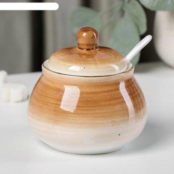 Сахарница с ложкой доляна «млечный путь»,280 мл, 10x10x10 см, цвет коричне