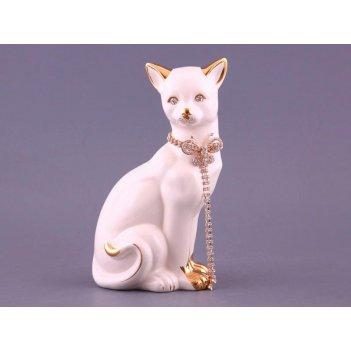 Фигурка кошка белая с цепочкой высота=25,5см