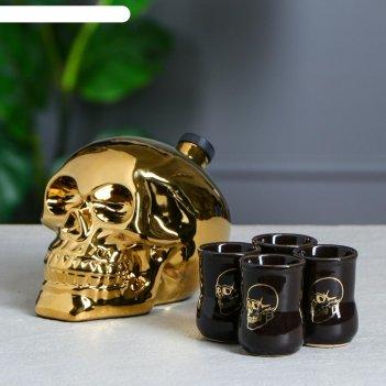 Набор для коньяка череп, золотой, объём 0,8 л/0,05 л