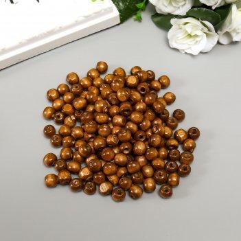 Бусины деревянные астра круглые, 10 мм, 50 гр, коричневый