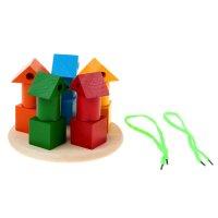 Пирамидка логическая башенки цветные со шнуровкой