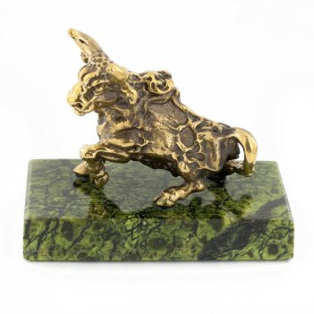 Статуэтка знак зодиака телец бронза змеевик