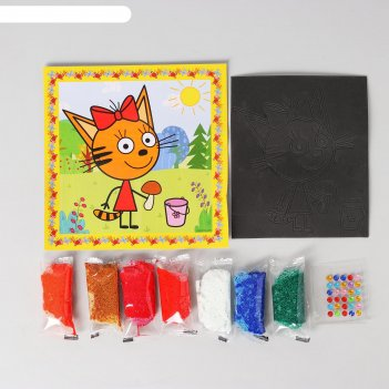 Аппликация ева шариковым пластилином и стразами, 21 x 21 см, «три кота»