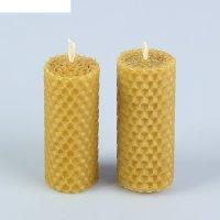 Свеча из вощины медовая с добавлением эфирного масла апельсин 8 см, 2 шт