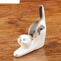 Статуэтка фарфоровая кошка чёрная, подставка для колец, 8 см