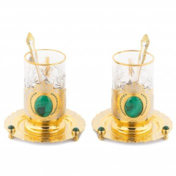 Чайный набор корона двойной малахит позолота 140х140х165 мм 3800 гр.