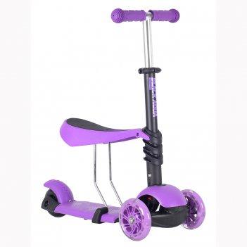 Самокат-беговел black aqua mg023 со светящими колёса, цвет фиолетовый