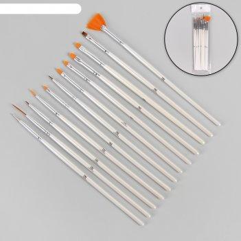 Набор кистей для наращивания и дизайна ногтей, 12 шт, цвет белый