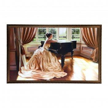 Картина девушка и рояль 60х100см