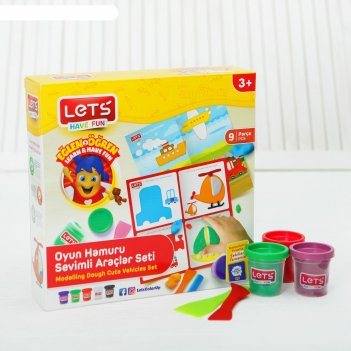 Тесто для лепки 5 цветов по 75 г транспорт игровой коврик, резак, шпатель,