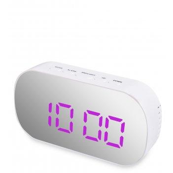 Ял-07-25/2 часы электронные зеркальные (белый с феолетовым циферблатом)