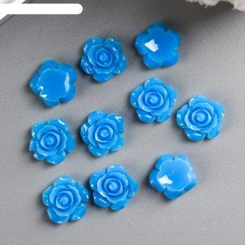 Кабошон роза, синий 15 мм