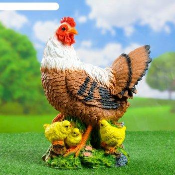 Садовая фигура курица с цыплятами большая 30*17*42 см