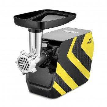 Мясорубка kitfort kt-2106-4, 1200 вт, 1 кг/мин, 5 насадок, реверс, желтая