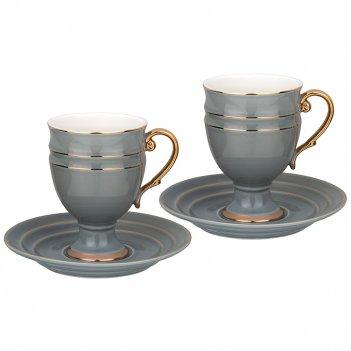 Чайный набор lefard на 2 персоны 4 пр. 250 мл серый