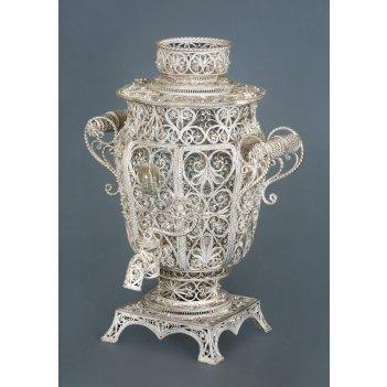 Самовар декоративный серебреный (вариант 1), филигрань