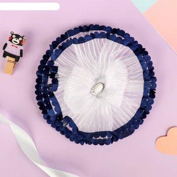 Резинка для волос школьница 11 см синий кантик с бантиком