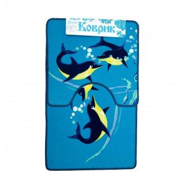 Набор ковриков для ванной и туалета дельфины, 2 шт