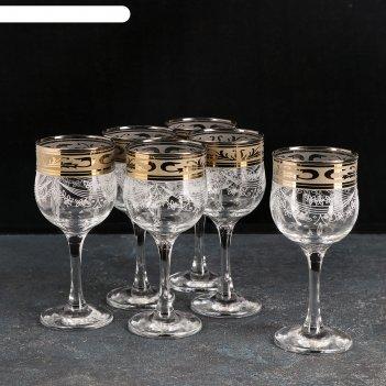 Набор фужеров для вина 240 мл русский узор, 6 шт