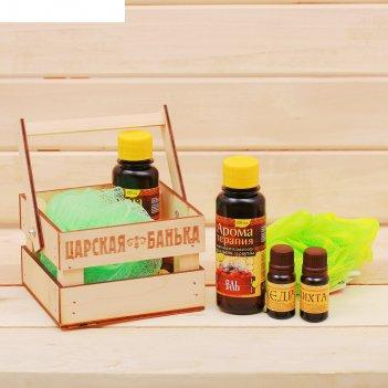 Банный набор в ящике жаркая банька: 2 аромамасла, ароматизатор, мочалка