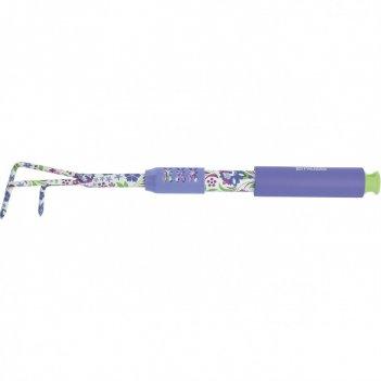 Рыхлитель 3-зубый, 60 x 430 мм, стальной, удлиненная рукоятка, flower mint