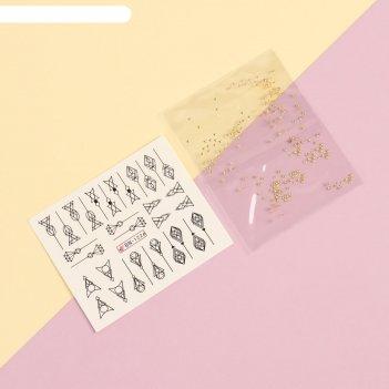 Набор для декора, 2 предмета: наклейки для ногтей, чешуйки металлические
