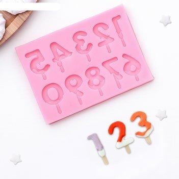 Молд силиконовый 9,5x6,5 см цифры для торта, цвет микс