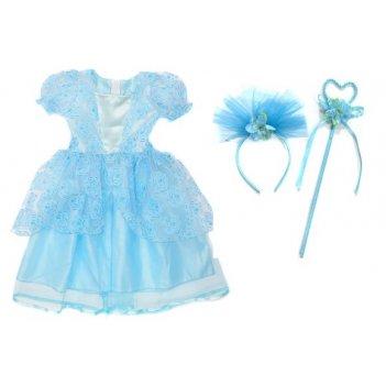 Костюм зимняя принцесса 65 см, голуб., ободок, палочка