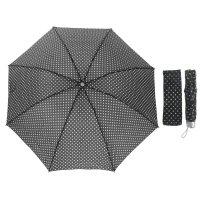 Зонт механический горошек, r=49см, цвет чёрный