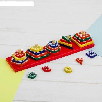 Пирамидка логическая разноцветные формы