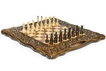 Шахматы + нарды резные вардени 60 с ручкой, haleyan