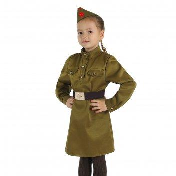 Карнавальный костюм для девочки военный, платье, ремень, пилотка, р-р 68,