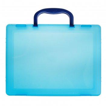 Портфель-кейс а4, тонированный голубой