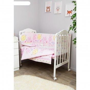 Комплект в кроватку «акварель», 6 предметов, нежно-розовый