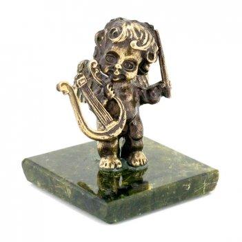 Статуэтка ангелочек с арфой бронза змеевик
