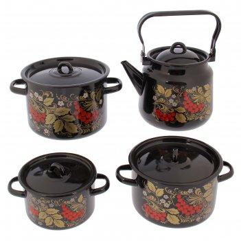 Набор кастрюль рябина, 4 предмета: 1,5 л, 2,9 л, 4,5 л, чайник 3,5 л, цвет