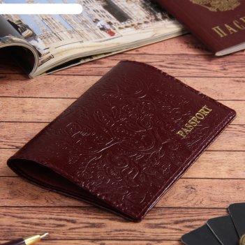 Обложка для паспорта пионы, красный глянцевый