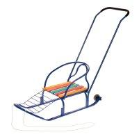 Санки кирюша-4вк синие, с толкателем, с колесами