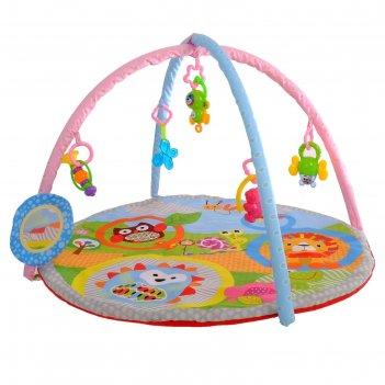 Развивающий коврик с дугами «ёжик и друзья», 5 игрушек + безопасное зеркал