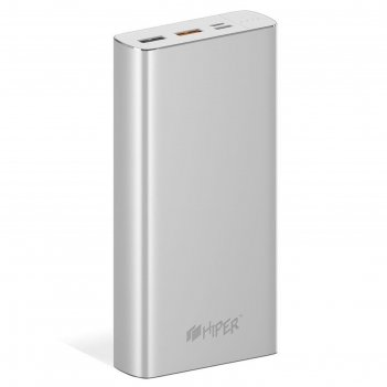 Мобильный аккумулятор hiper mpx20000 li-pol 20000mah 3a+2.4a+2a 2xusb сере