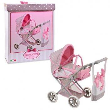 Средняя классическая коляска для куклы с сумкой, bambolina boutique