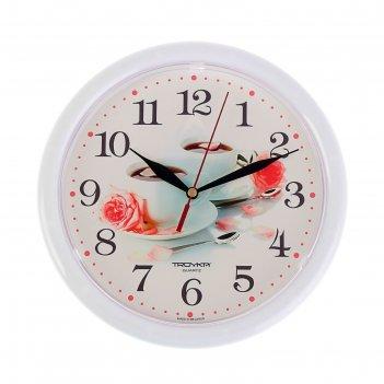 Часы настенные, серия: кухня, две чашки кофе, белый обод, 24х24 см