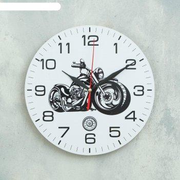 Часы настенные мотоцикл d=24 см, плавный ход
