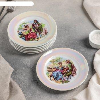 Набор мелких тарелок 17 см идиллия. мадонна, 6 шт, микс